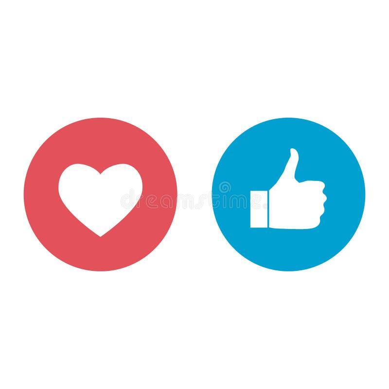 Nouvelles ic?nes de go?t et d'amour des r?actions compr?hensives d'Emoji, imprim?es sur le papier Illustration sociale de media d illustration stock