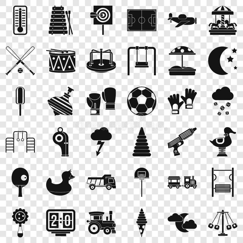 Nouvelles icônes de terrain de jeu réglées, style simple illustration libre de droits