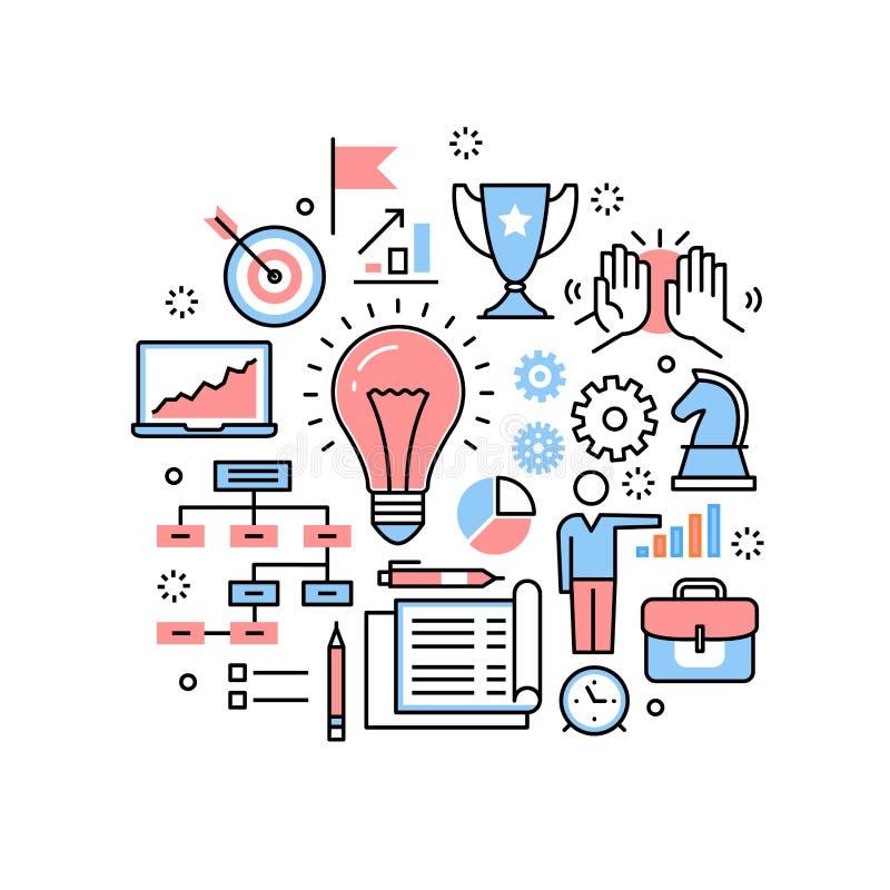 Nouvelles idées, stratégies et collaboration d'affaires illustration stock