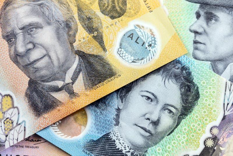 Nouvelles notes sur la monnaie australienne images stock