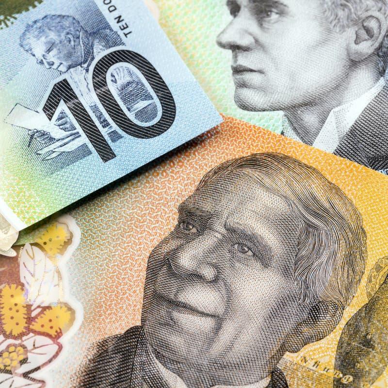 Nouvelles notes sur la monnaie australienne photo libre de droits