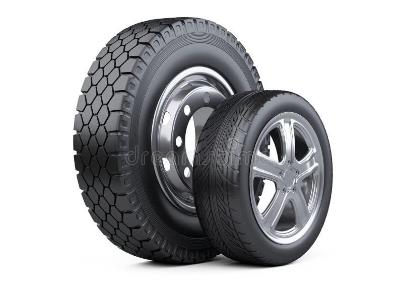Nouvelles roues de voiture avec le disque pour des voitures et des camions illustration stock
