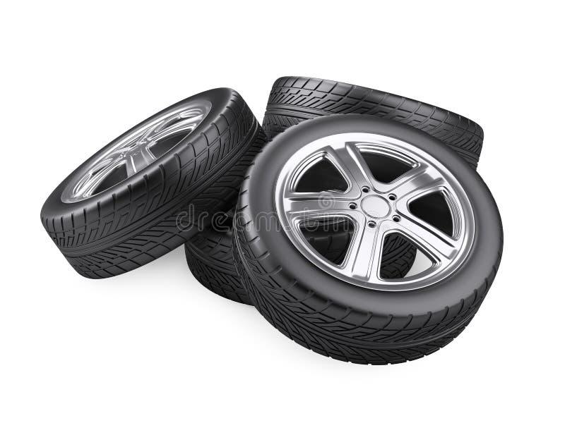Nouvelles roues de voiture de pile illustration de vecteur