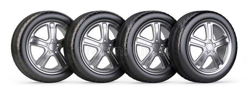 Nouvelles roues de voiture réglées illustration libre de droits