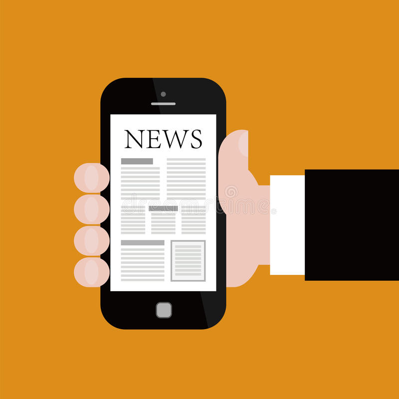 Nouvelles sur Smartphone mobile illustration stock