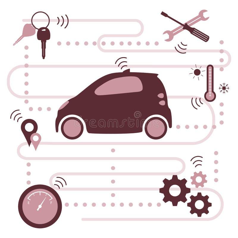 Nouvelles technologies de transport de voiture driverless intelligente illustration de vecteur