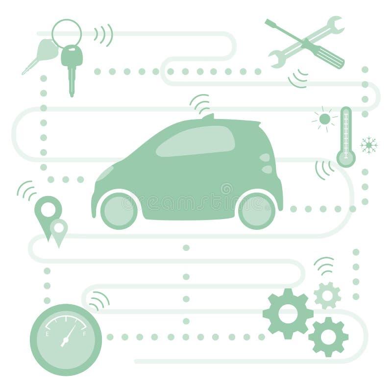 Nouvelles technologies de transport de voiture driverless intelligente illustration stock