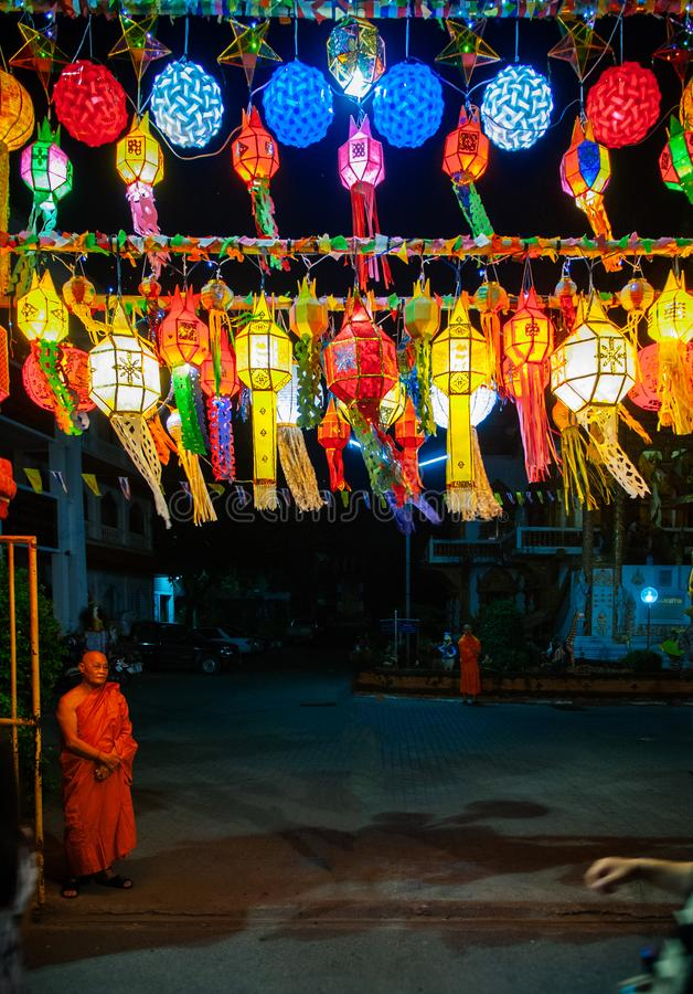 Colourful Lanna Yi Peng Lanterns in Loy Krathong festival of Chi stock photos