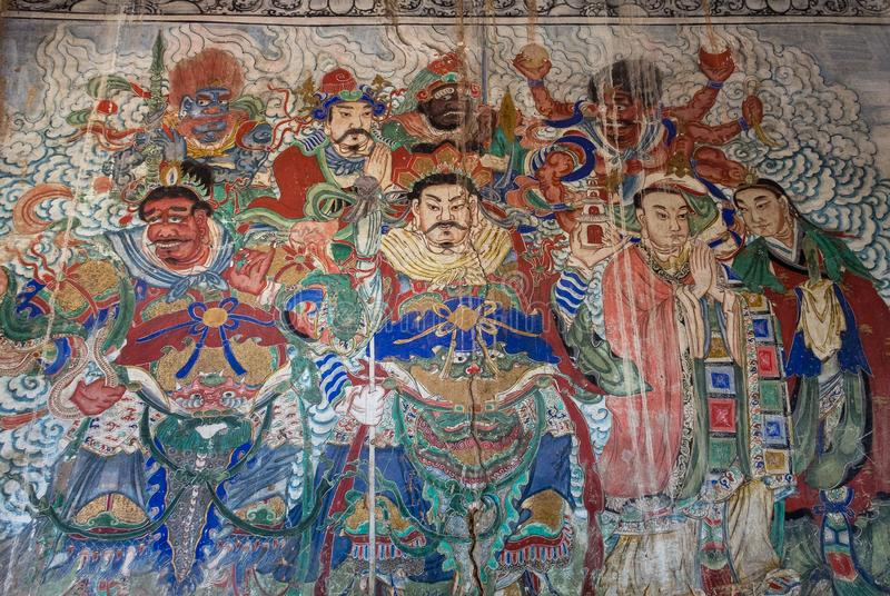 Nov 2014, Datong, Chiny: Malowidło ścienne obrazów Yungang groty w Datong, Chiny obraz royalty free