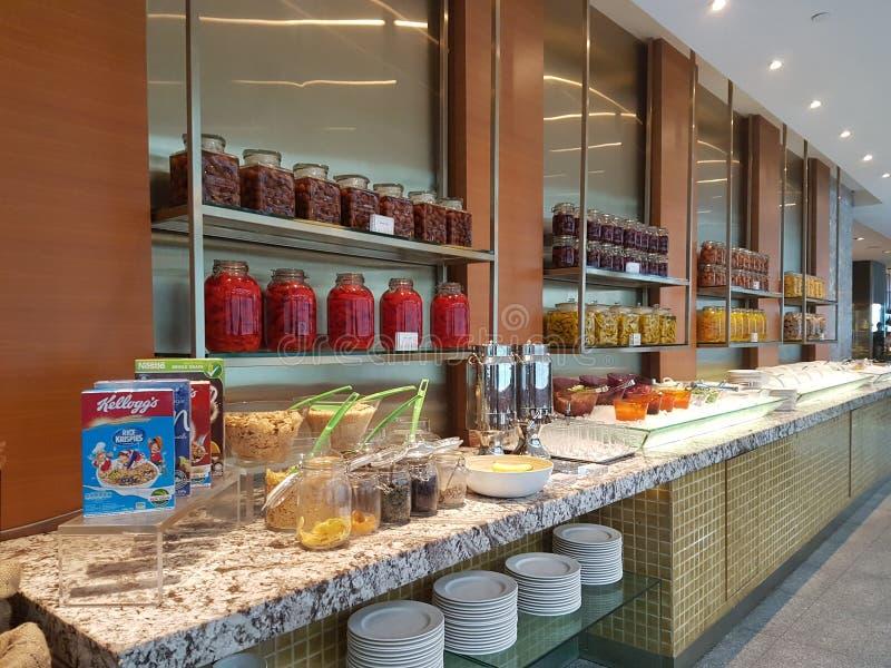 4 Nov. 2016, Jen Hotel Habour Johor Baru, Johor De haven Café is een de hele dag het dineren afzet royalty-vrije stock foto's