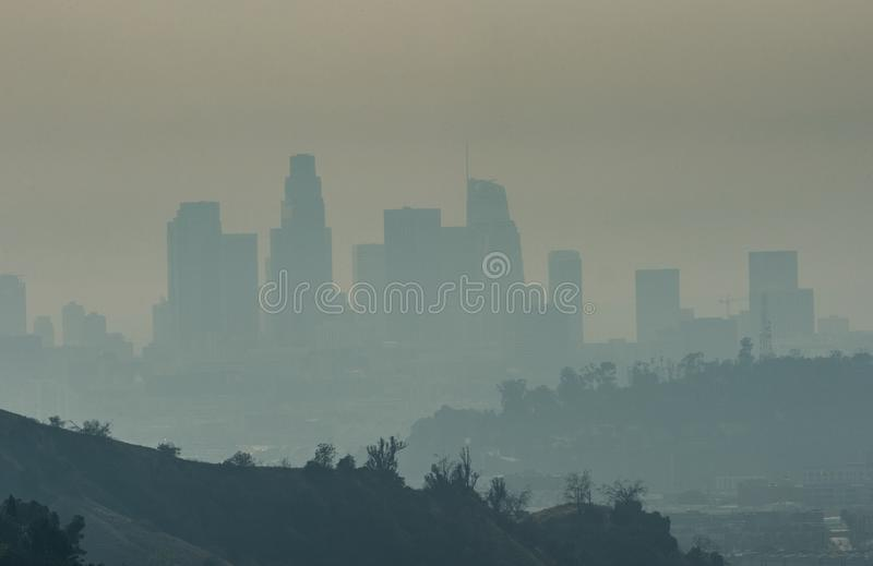 Woolsey Fire Smoke and Downtown Los Angeles skyline. Nov. 10, 2018--Smoke from the giant Woolsey Fire in Ventura County and Malibu obscures views of the downtown royalty free stock photography