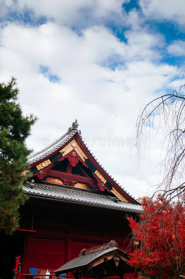 Old red wooden building of Kiyomizu Kannon-do shrine in Ueno park, Tokyo stock images