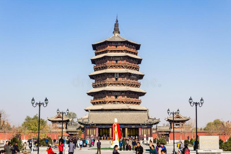 Nov 2014, Yingxian, China: Wooden Pagoda of Yingxian, near Datong, Shanxi province, China. Unesco world heritage site, is the oldest and tallest fully wooden royalty free stock images
