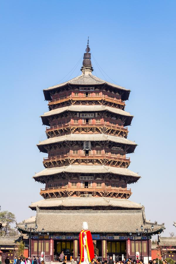Nov 2014, Yingxian, China: Wooden Pagoda of Yingxian, near Datong, Shanxi province, China. Unesco world heritage site, is the oldest and tallest fully wooden stock images