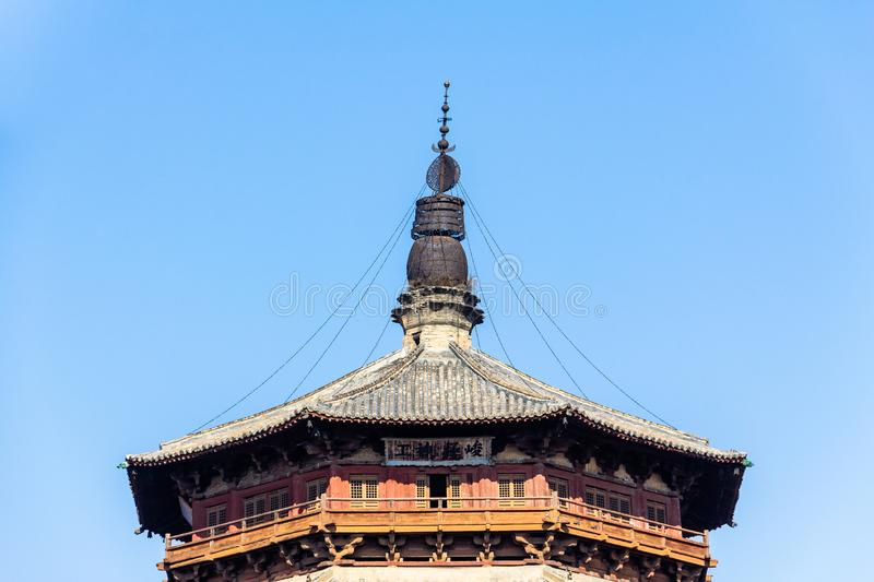 Nov 2014, Yingxian, China: Wooden Pagoda of Yingxian, near Datong, Shanxi province, China. Unesco world heritage site, is the oldest and tallest fully wooden stock photography