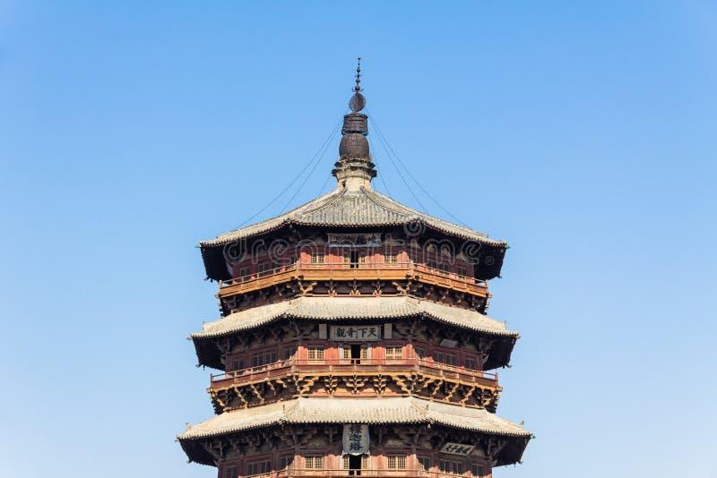 Nov 2014, Yingxian, Chiny: Drewniana pagoda Yingxian, blisko Datong, Shanxi prowincja, Chiny zdjęcia royalty free