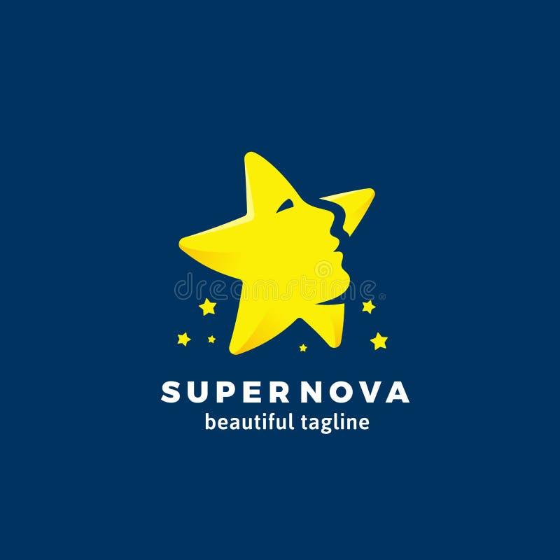 Nova Abstract Vetora Sign super, emblema ou Logo Template Cara bonita da mulher incorporada na silhueta da estrela liso ilustração royalty free