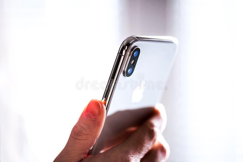 NOVA BANA, SLOVAKIA - NOV 28, 2017: New Apple iPhone X smartphone. stock image