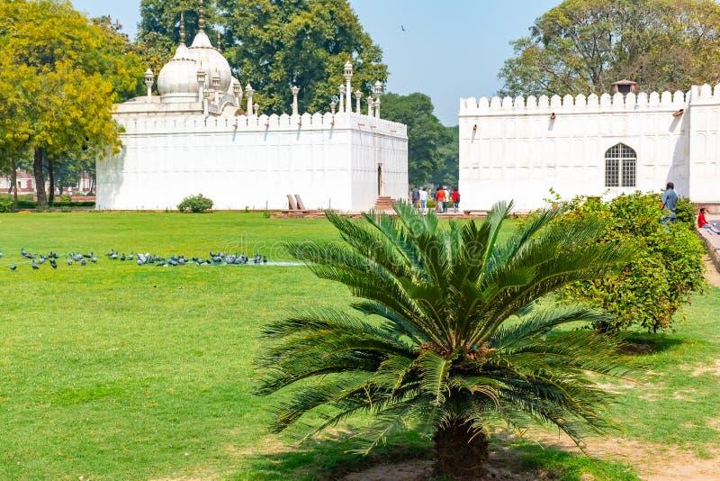 Nova Deli, Índia, o 30 de março de 2019 - os turistas dão uma volta em torno do divã-eu-Khas e do Khas Mahal, complexo vermel foto de stock