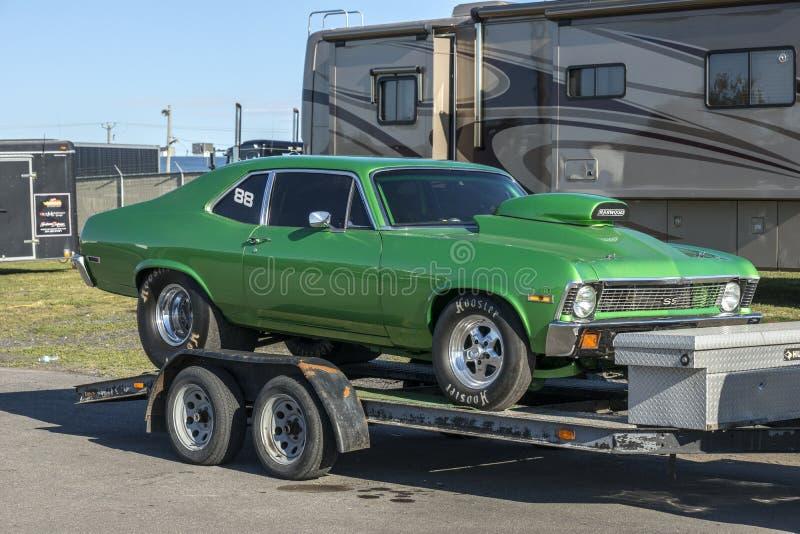 Nova drag car on the trailer royalty free stock photo