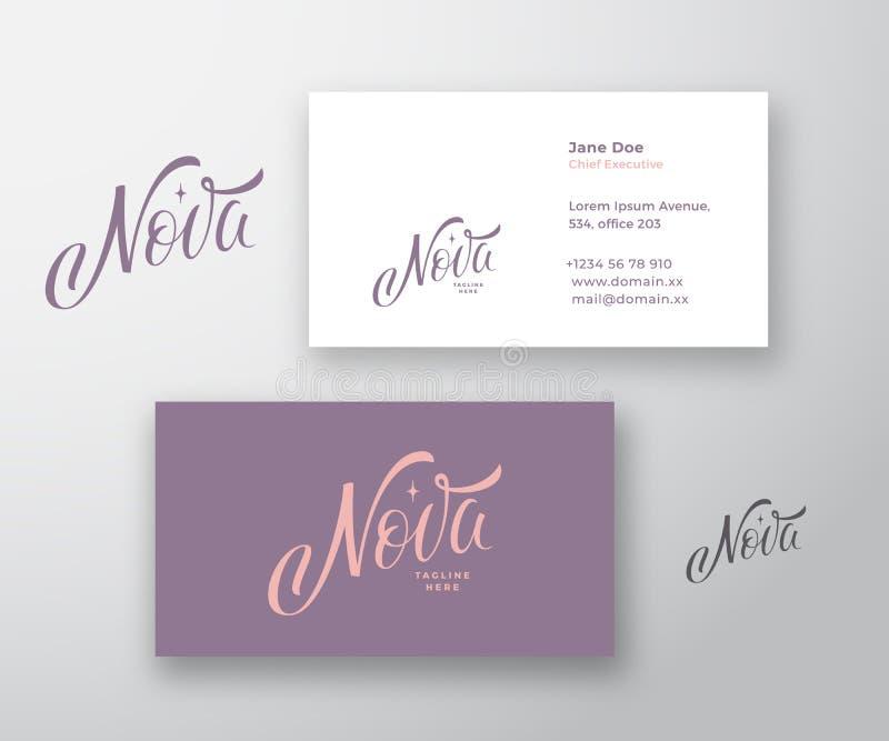 Nova Inscription Abstract Vector Logo et calibre de carte de visite professionnelle de visite Moquerie r?aliste stationnaire de l illustration stock