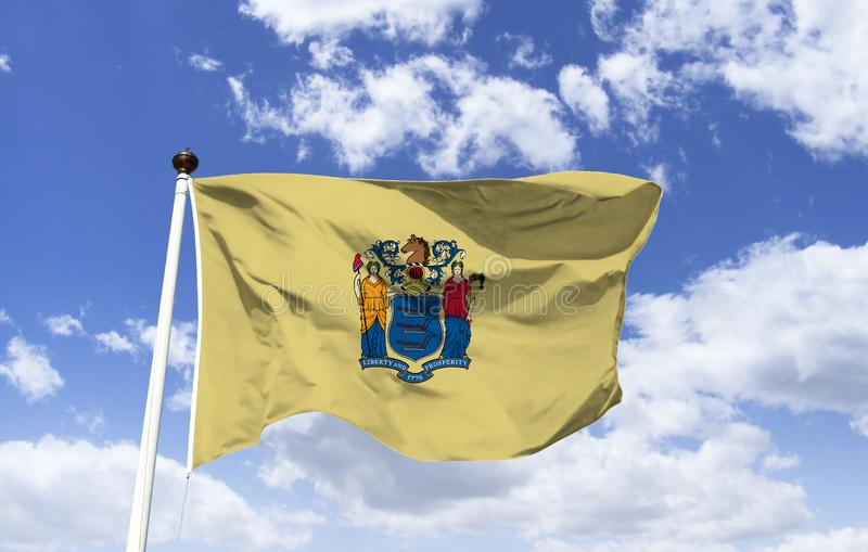 Nova Jersey flag mockup in the wind stock illustration