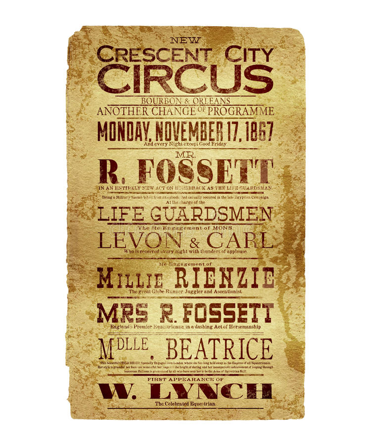 Nova Orleães Crescent City Circus Flyer imagem de stock