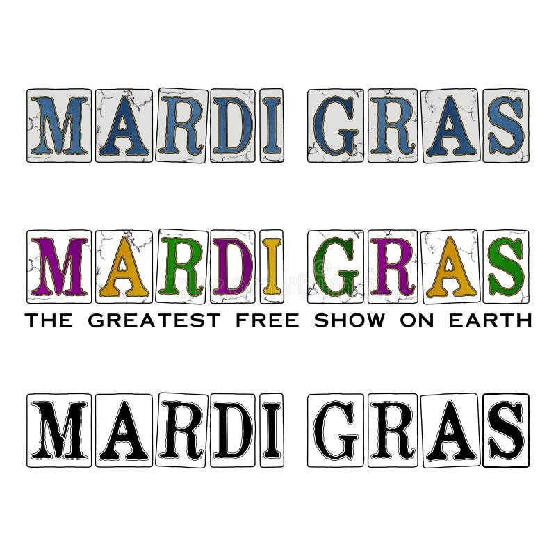 Nova Orleães Mardi Gras Carnival Season Design & tipografia ilustração stock