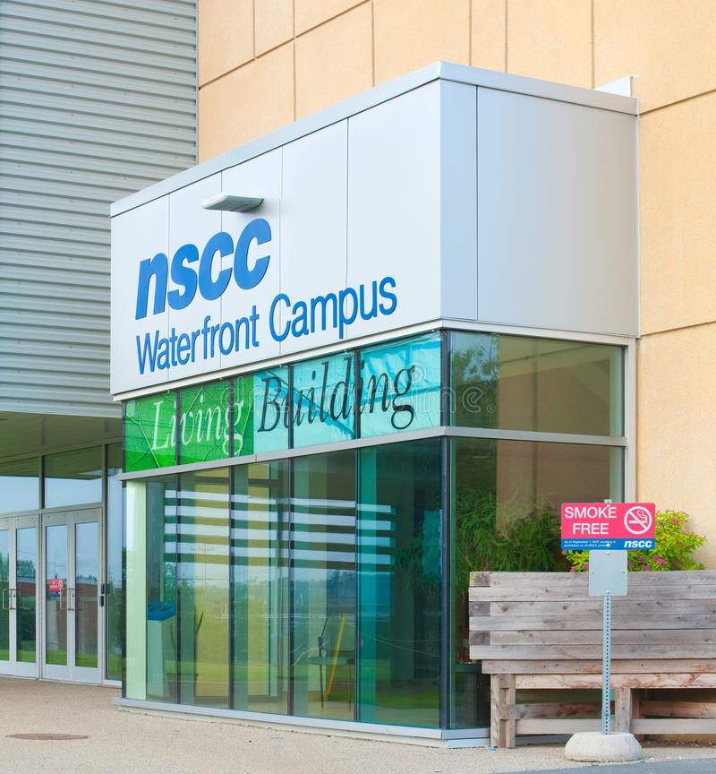 Nova Scotia Community College Entrance. DARTMOUTH, CANADA - JULY 12, 2015: The Nova Scotia Community College or NSCC, is a community college in Nova Scotia with stock photos