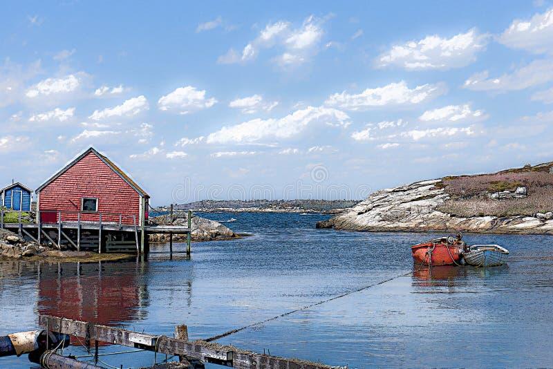 Nova Scotia-Fischen verschüttet mit Boot am Anker im Hafen stockbild