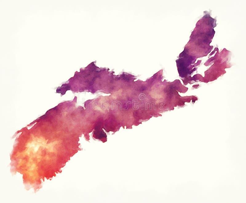 Nova Scotia Province-waterverfkaart van Canada vector illustratie