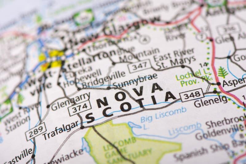 Nova Scotia sulla mappa fotografia stock