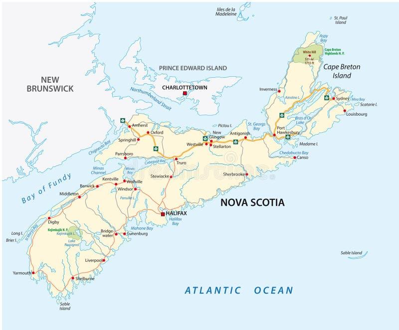 Nova Scotia-weg vectorkaart, Canada royalty-vrije illustratie