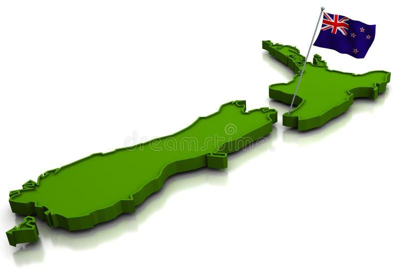 Nova Zelândia - mapa e bandeira ilustração do vetor