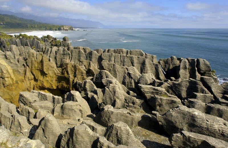 Nova Zelândia - rochas da panqueca - console sul fotografia de stock royalty free