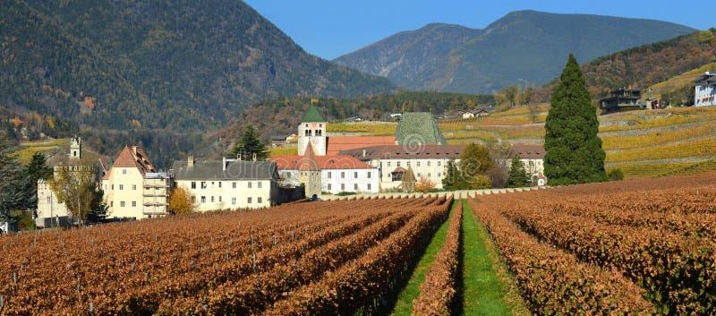 Novacella修道院的,南蒂罗尔, Bressanone,意大利美丽的葡萄园 Neustift Augustinian教规规则修道院  免版税库存图片