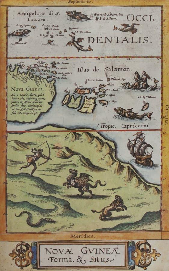 Novae Guineae Forma e Situs, por Cornelis de Jode, 1593 imagens de stock royalty free