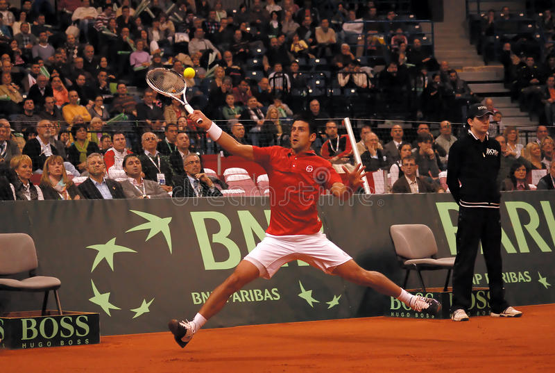 Novak Djokovic-1. BELGRADE - MARCH 5: Serbian Novak Djokovic returns a ball during a match against Amerikan Sam Querrey during DAVIS CUP SERBIA - USA, MARCH 5 stock images