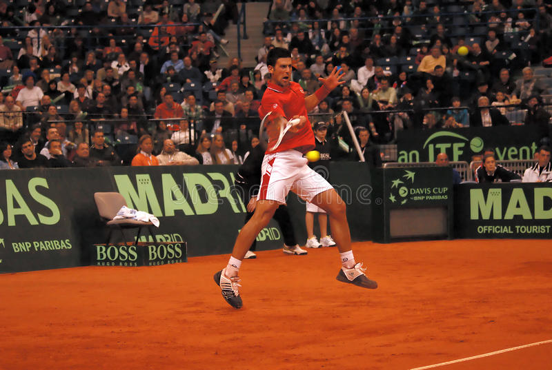 Novak Djokovic-4. BELGRADE - MARCH 5: Serbian Novak Djokovic returns a ball during a match against Amerikan Sam Querrey during DAVIS CUP SERBIA - USA, MARCH 5 royalty free stock image