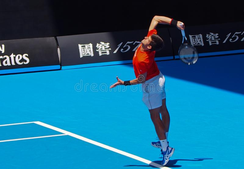 Novak Djokovic at the Australian Open 2019. This was an exhibition match he played against Andy Murray. Murray was to later announce his retirement plans after royalty free stock image