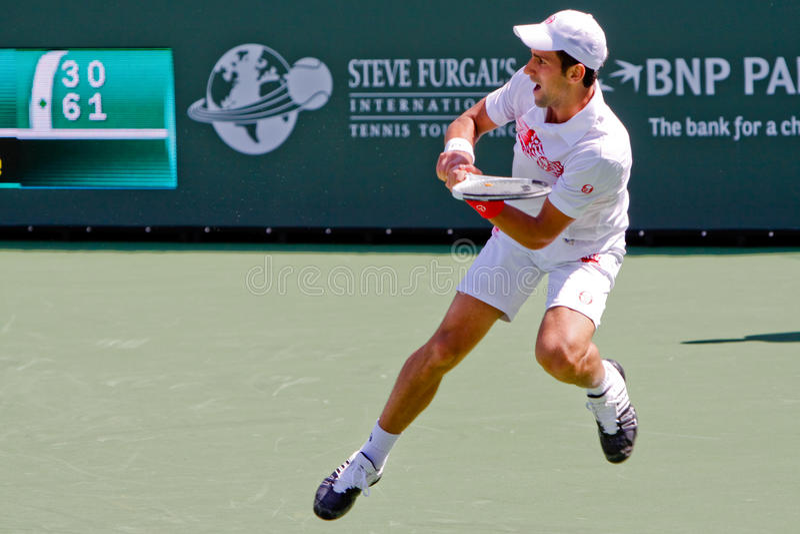 Novak Djokovic bij 2010 BNP Open Paribas royalty-vrije stock fotografie