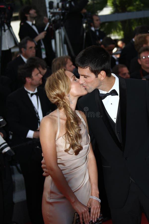 Novak Djokovic en Jelena Ristic royalty-vrije stock afbeelding