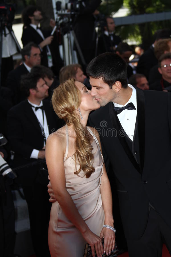 Novak Djokovic et Jelena Ristic image libre de droits