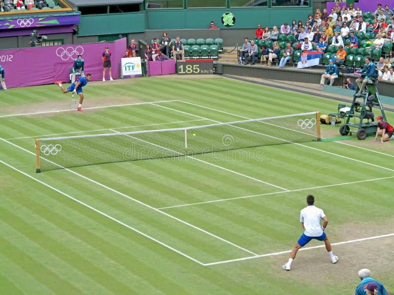 Novak Djokovic i Jo-Wilfried Tsonga zdjęcia stock