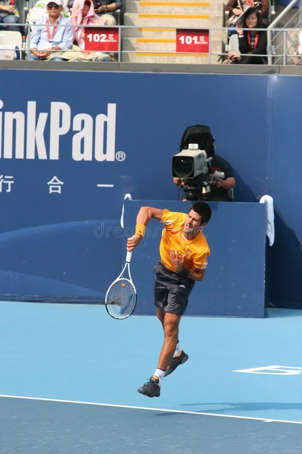 Novak Djokovic no semifinal da China aberta imagens de stock