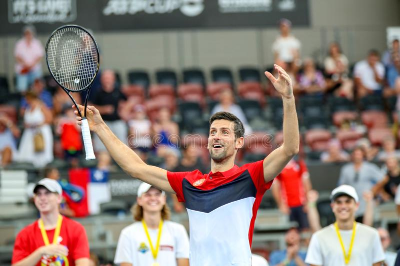 Brisbane ATP Cup 2020, Serbia vs Chile royalty free stock photo