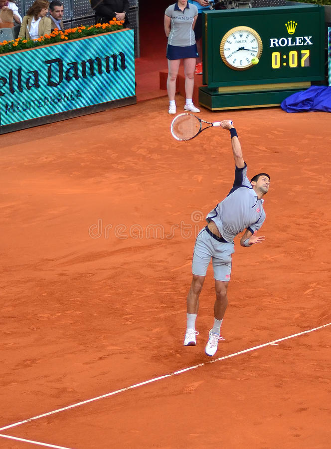 Novak Djokovic przy ATP Mutua Otwarty Madryt fotografia stock