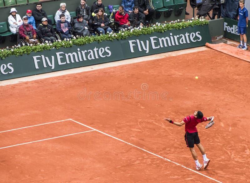 Novak Djokovic przy Roland Garros zdjęcia stock