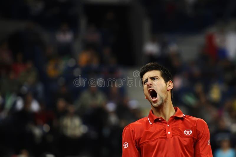 Novak Djokovic reaguje podczas dopasowania zdjęcie royalty free
