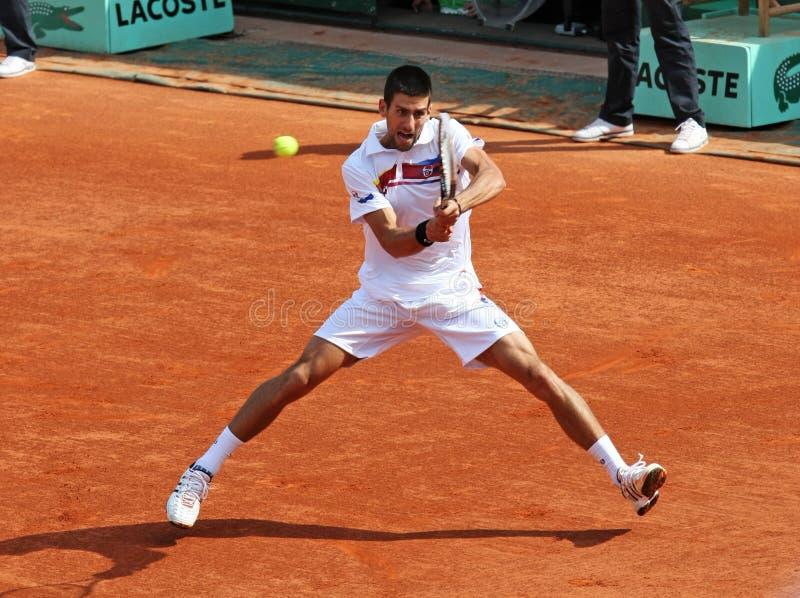 Novak Djokovic (SRB) en Roland Garros 2011 fotografía de archivo libre de regalías